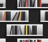 Library shelves with books — Stock Vector