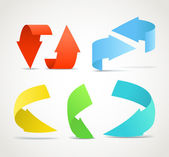 Origami color arrows stickers collection — Stock Vector