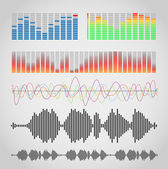 Graphic equalizer types — Stock Vector