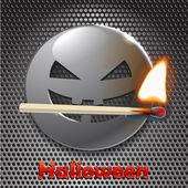 Metal halloween cara sonriente — Vector de stock
