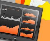 Gadget touche moderne avec des graphismes de revenu — Vecteur