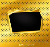 Damaged gold texture with a hole — Stock Vector