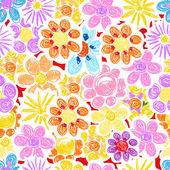 Soyut dekoratif çiçek sorunsuz arka plan — Stok Vektör