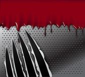 Hayvan izleri pençeleri ve çelik arka plan üzerinde kan — Stok Vektör