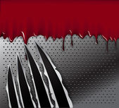 Traces of an animal claws and blood on steel background — Stock Vector