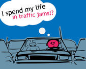 I spend my life in traffic jam! — Stock Vector