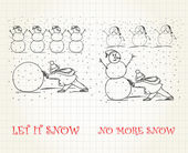 Let it snow vs no more snow — Stockvector