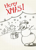 Snowman`s greetings — Vettoriale Stock