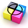 Royalty-Free Stock Photo: CMYK boxes with a cross