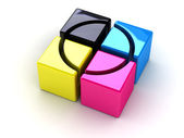 CMYK boxes with a cross — Stock Photo