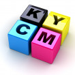 Stock Photo: Boxes with letters CMYK