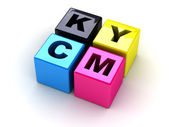Boxes with letters CMYK — Stock Photo