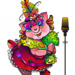 Singing pig masquerade — Stock Photo