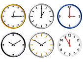 Six various clocks — 图库照片