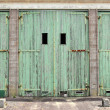 Large doors of garage for military vehicles - Foto Stock