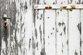 Old wooden door with peeling paint — Stock Photo