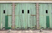 Large doors of garage for military vehicles — Stock Photo