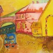 Painting of happy orange city with blue car. Kids art. — Stock Photo