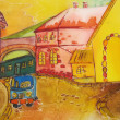 Stock Photo: Painting of happy orange city with blue car. Kids art.