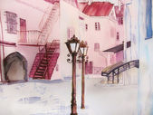 City scape painting. European street in pink. — Stock Photo