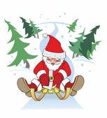 New Year, santa claus sleigh — Stock Vector