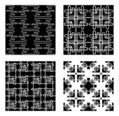 Four Black and White Vector Patterns — Stock Vector