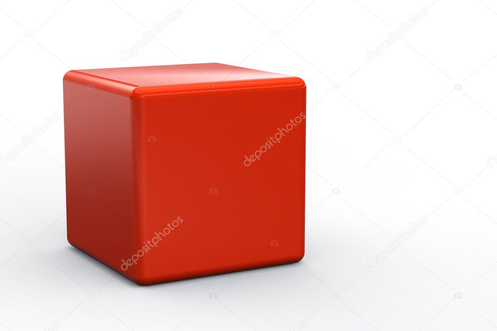 Red cube isolated on white background — Stock Photo #7858288