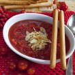 Stock Photo: Tomatoes soup with almonds