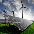 Solar panels and wind turbine — Stock Photo #7824540