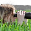 Girl observing Nature - Stock Photo