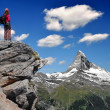 Girl looking at the beautiful Mount Matterhorn — Stock Photo #7865887