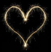 Coeur de cierge magique de noël — Photo