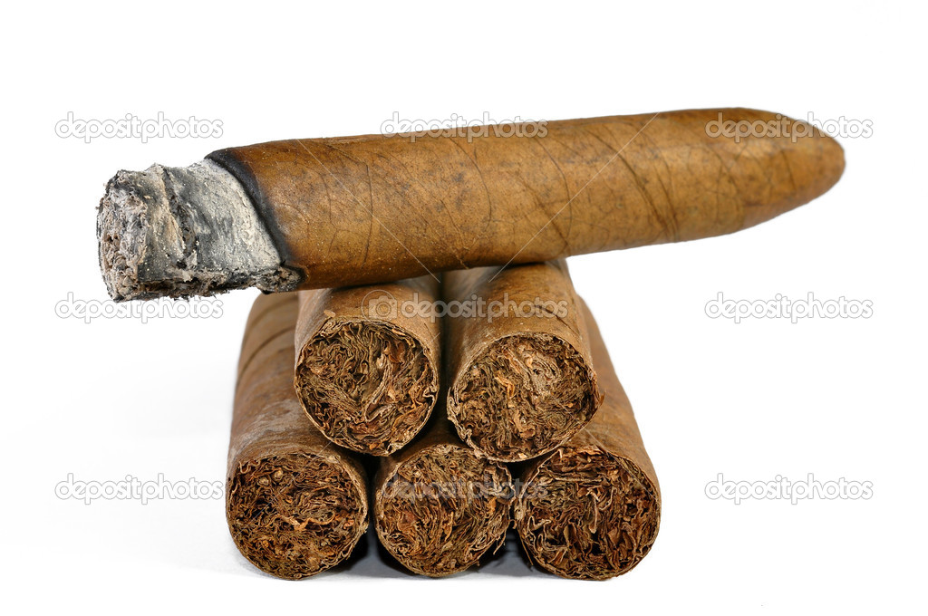 Brown cigar burned on white background  — Stock Photo #7865462