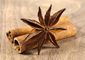 Star anise with cinnamon — Stock Photo
