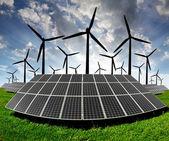 Painéis de energia solar e turbina eólica — Foto Stock