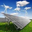 Solar panels and wind turbine — Stock Photo #7959065
