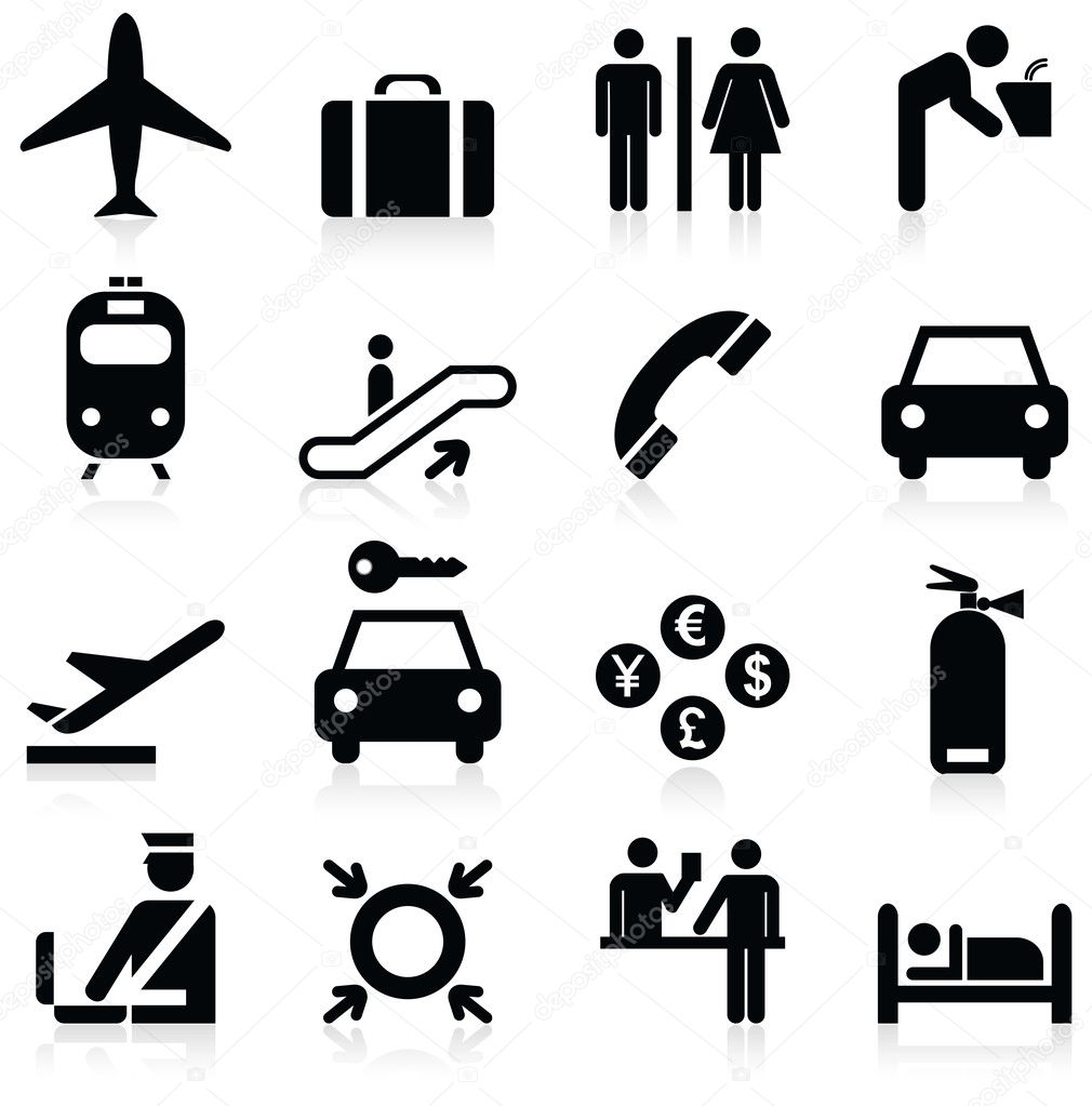 Airport icons. Vector — Stock Vector #7946990