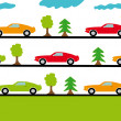 Stock Vector: Sports cars on roads in forest