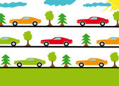 Sports cars on the roads in forest — Stock Vector