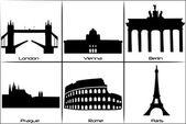 Main European landmarks — Stock Vector