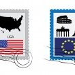 Set of stamps — Stock Vector