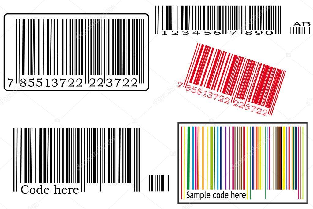 Detail illustration of various barcodes with various color.  Stock Vector #7940762
