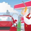 Stock Vector: Strong gas station worker in uniform and red car