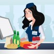 Cashier girl in supermarket - Stock Vector