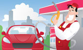 Strong gas station worker in the uniform and red car — Vector de stock