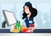 Cashier girl in supermarket — Stock Vector