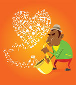 Saxofonista y corazón — Vector de stock