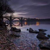 Autumn Evening on the River Dnieper — Stock Photo