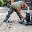 Making a pavement — Stock Photo