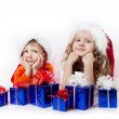 Girl and boy with gifts — Stock Photo #7920149